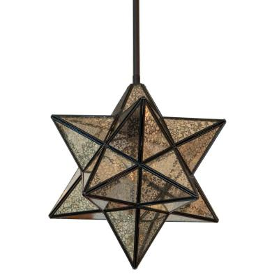 1-Light Antique Bronze Star Pendant