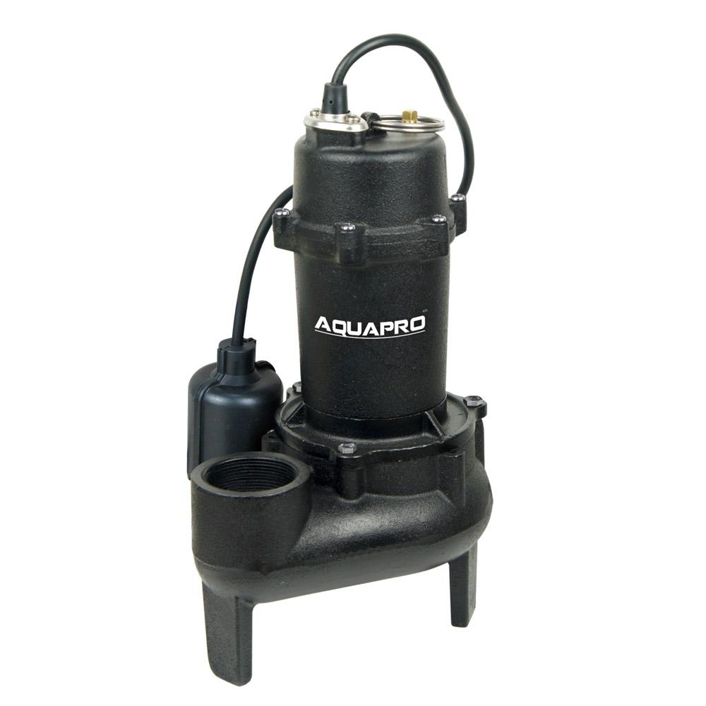 AquaPro 1/2 HP Submersible Sewage Pump with Piggyback Tether Float Switch