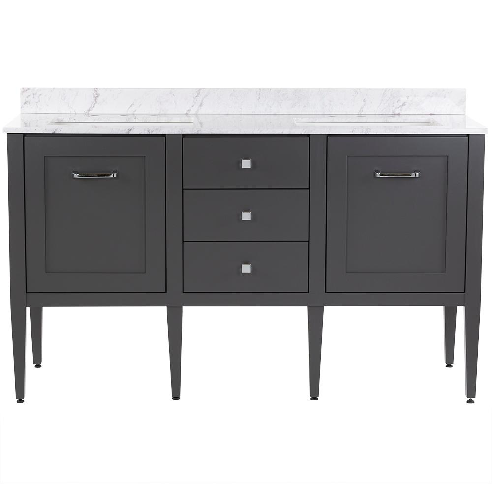 MOEN Hensley 61 in. W x 22 in. D Bath Vanity in Shale Gray with Stone Effects Vanity Top in Lunar with White Sinks