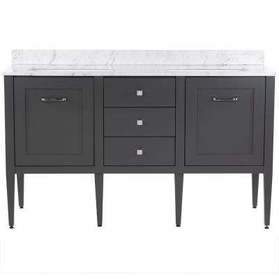 Hensley 61 in. W x 22 in. D Bath Vanity in Shale Gray with Stone Effects Vanity Top in Lunar with White Basins