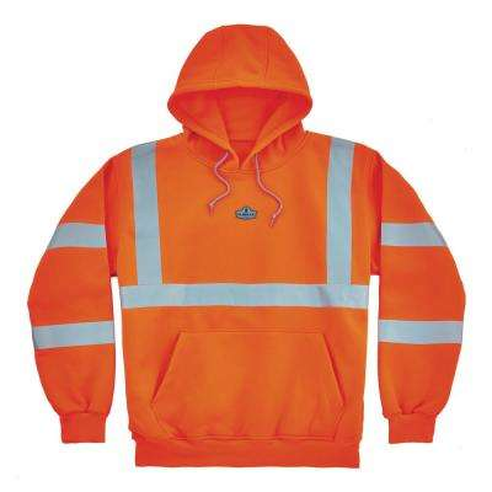 Large Hi Vis Orange Hooded Sweatshirt