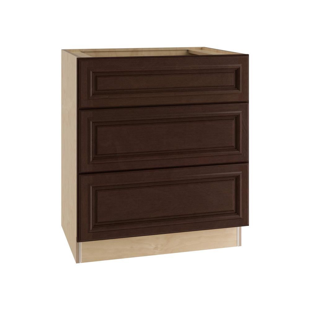 Assembled 24x34 5x24 In Drawer Base Kitchen Cabinet In: Hampton Bay Madison Assembled 24x34.5x24 In. 3-Drawer Base