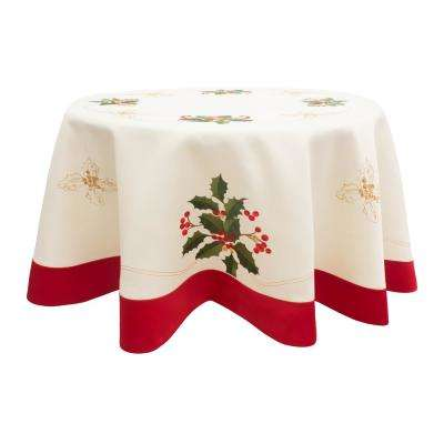 Holiday Embroidered Holly Berries 70 In. Round Table Cloth With Red Trim  Border