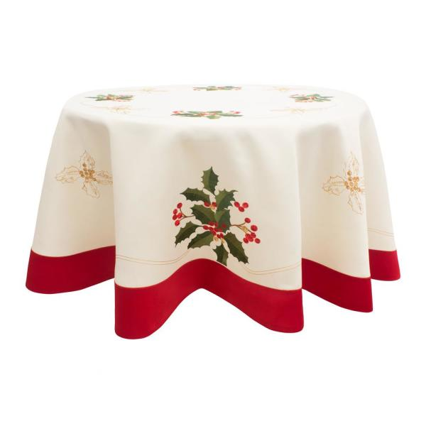 Round Table With Tablecloth.Chi Holiday Embroidered Holly Berries 70 In Round Table Cloth With