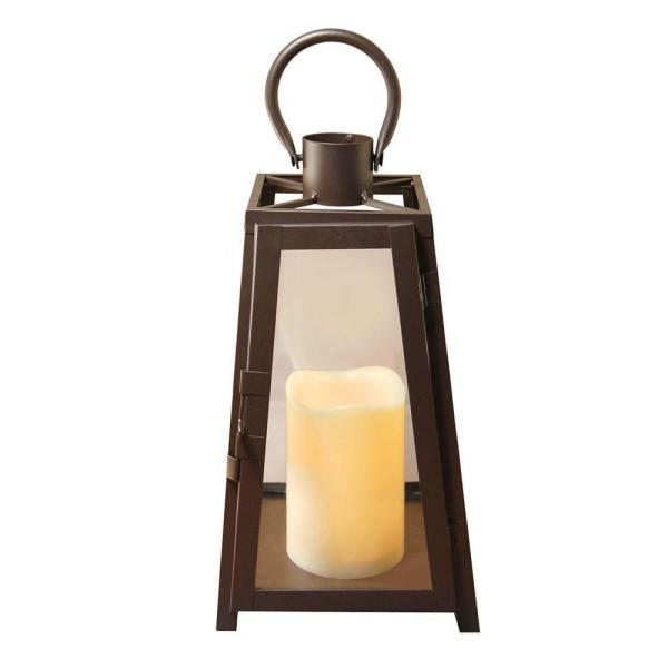 Lumabase 11 in. Tapered Metal Lantern with LED Candle 90801
