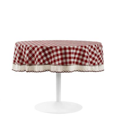 Buffalo Check 70 in. W x 70 in. L Burgundy Checkered Polyester/Cotton Round Tablecloth