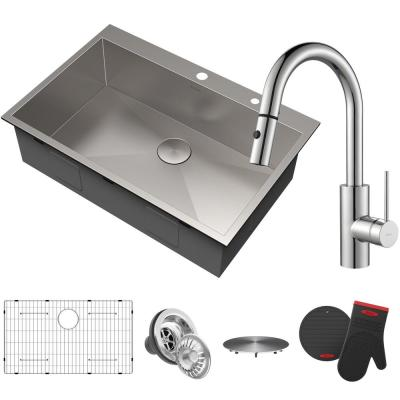 Pax All-in-One Drop-In Stainless Steel 33 in. 2-Hole Single Bowl Kitchen Sink with Oletto Faucet in Chrome
