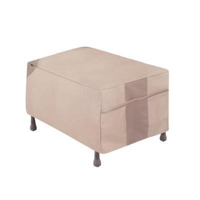 Monterey Water Resistant Outdoor Patio Ottoman/Side Table Cover, 32 in. W x 22 in. D x 17 in. H, Beige