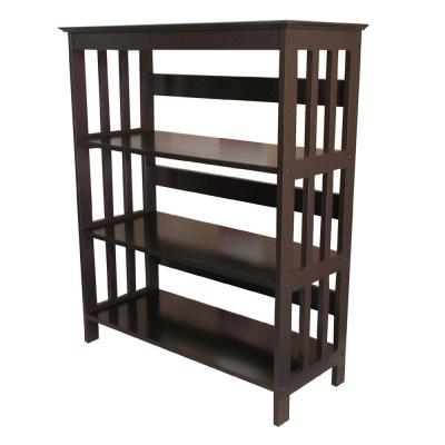 36 in. Espresso Wood 3-shelf Etagere Bookcase with Open Back
