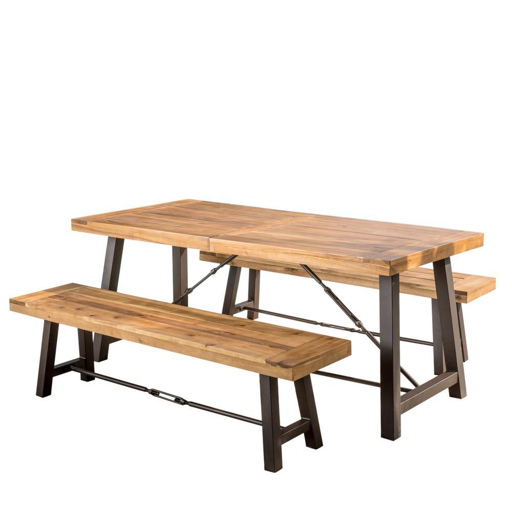 Catriona Teak 3-Piece Wood Rectangular Outdoor Dining Set