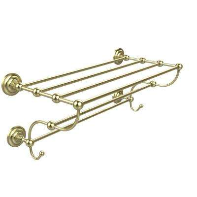 Prestige Que New Collection 24 in. W Train Rack Towel Shelf in Satin Brass