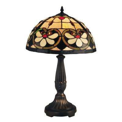 McCartney 21.5 in Tiffany Bronze Table Lamp with Art Glass Tiffany Shade