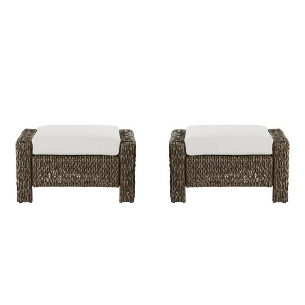Laguna Point Brown Wicker Outdoor Patio Ottoman with CushionGuard Chalk White Cushions (2-Pack)