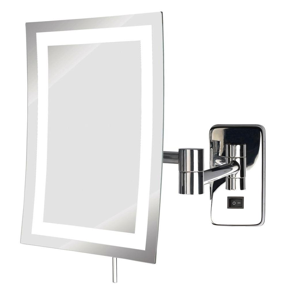 see all 6 in x 9 in frameless led lighted wall mounted makeup mirror in chrome with 5x. Black Bedroom Furniture Sets. Home Design Ideas