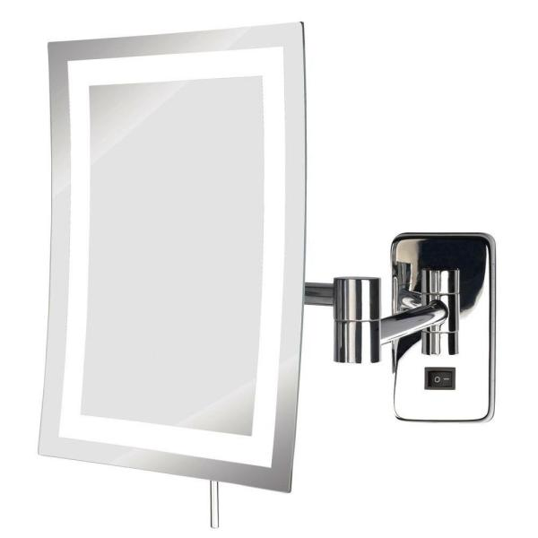 6 in. x 9 in. Frameless LED Lighted Wall Mounted Makeup Mirror in Chrome with 5X Magnification