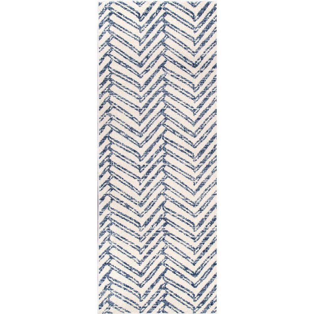 Rosanne Geometric Herringbone Blue 3 ft. x 12 ft. Runner
