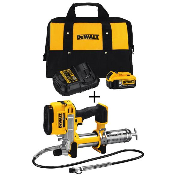 DEWALT 20-Volt MAX Cordless Grease Gun with Bonus 20-Volt 5.0Ah Battery Pack and Charger
