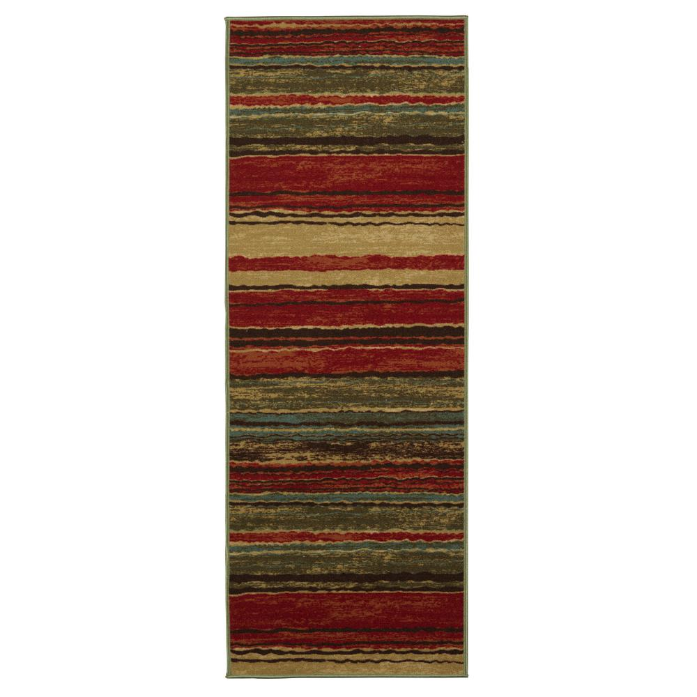Anne Collection Wavy Stripes Design Multi 2 Ft X 6 Non Skid