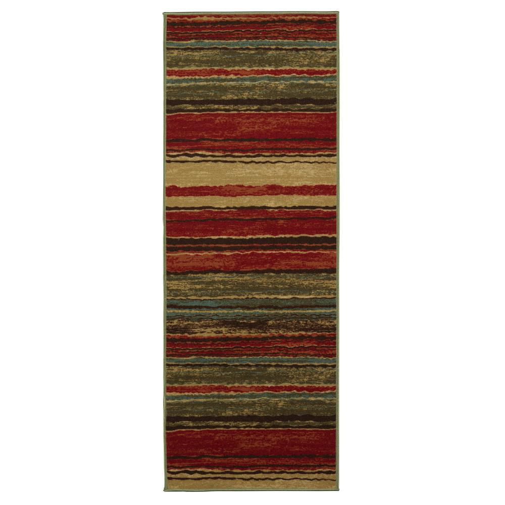 Anne Collection Wavy Stripes Design Multi 3 Ft X 10 Non Skid