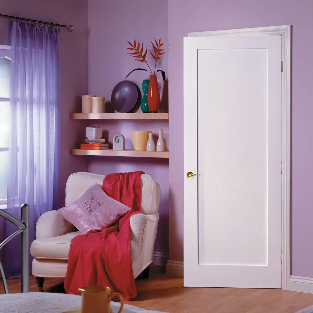 Masonite 30 In X 84 In Primed 1 Panel Shaker Flat Panel Solid Wood Interior Barn Door Slab