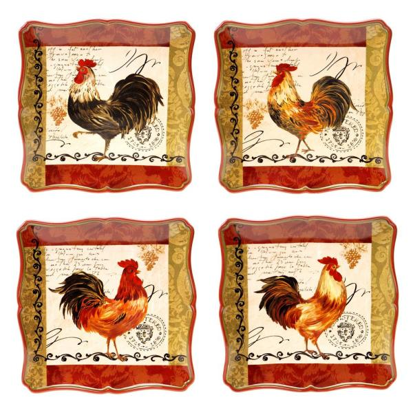 Certified International Tuscan Rooster 10.25 in. Dinner Plate (Set of 4)
