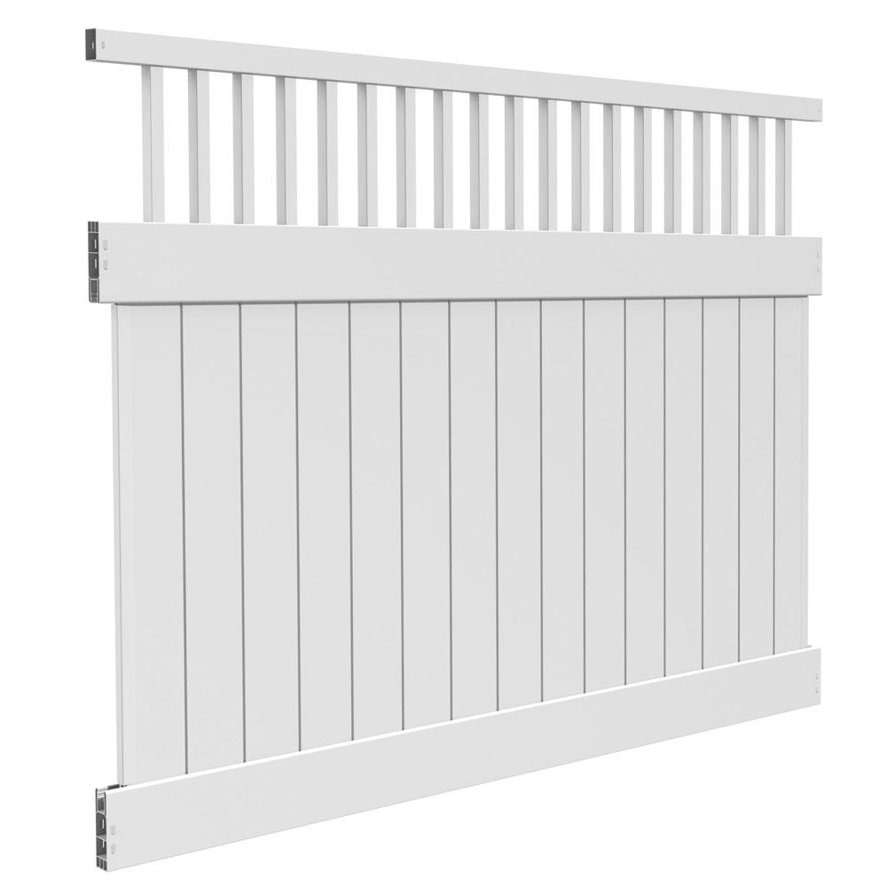 6 ft. H x 8 ft. W White Vinyl Biscayne Privacy