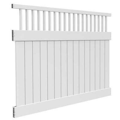 6 ft. H x 8 ft. W White Vinyl Biscayne Privacy Fence Panel Kit