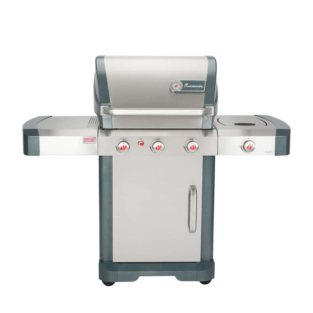 LANDMANN - Avalon PTS+ 3.1 3-Burner Propane Gas Grill in Stainless Steel