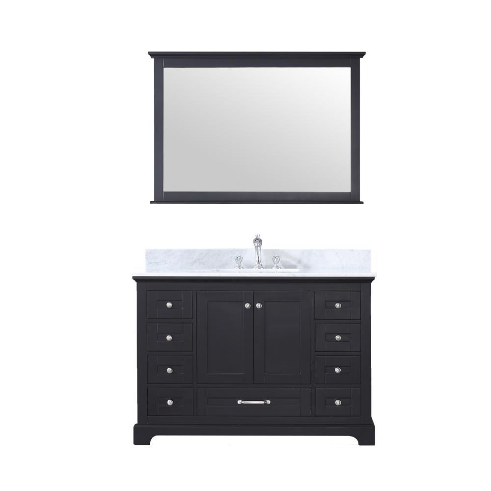 Lexora Dukes 48 in. Single Bath Vanity in Espresso w/ White Carrera Marble Top w/ White Square Sink and 46 in. Mirror