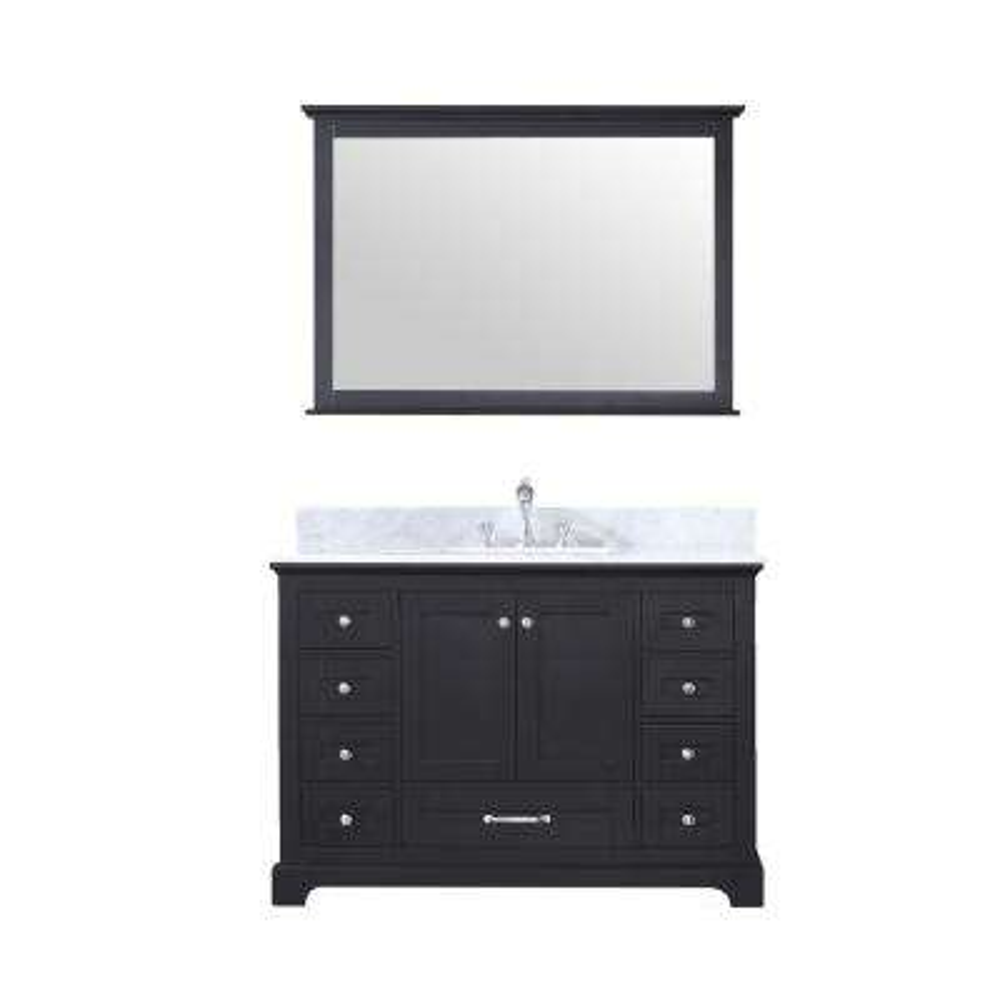 Dukes 48 in. Single Bath Vanity in Espresso w/ White Carrera Marble Top w/ White Square Sink and 46 in. Mirror