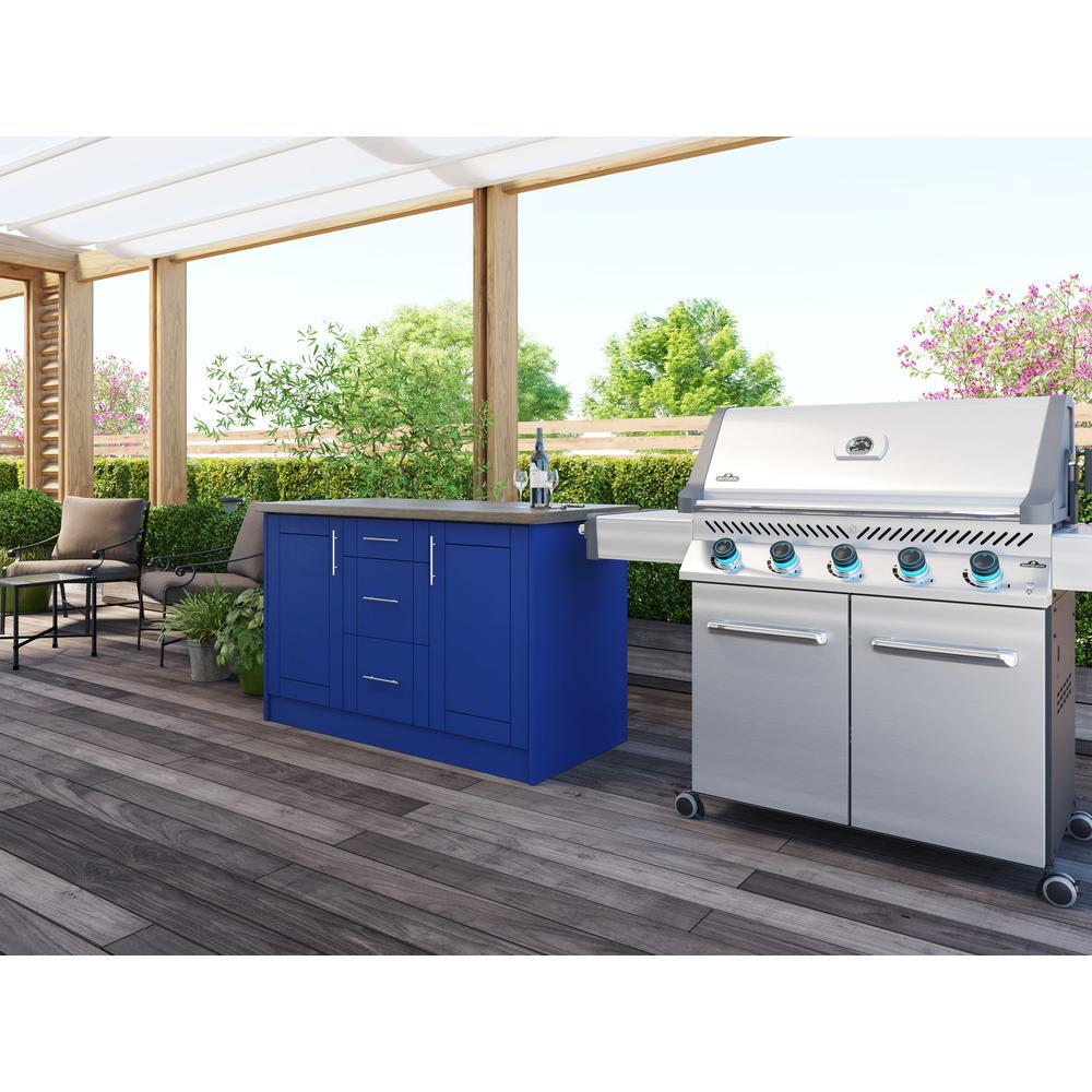 Sanibel Reef Blue 14-Piece 55.25 in. x 34.5 in. x 25.5 in. Outdoor Kitchen Cabinet Island Set