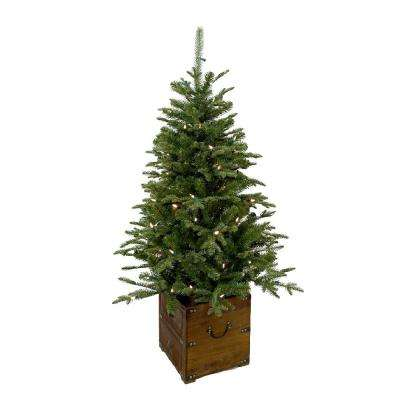 Pre Lit Outdoor Christmas Trees Battery Operated.4 Ft Pre Lit Frasier Artificial Christmas Porch Tree With Warm White Battery Operated Led Light And Wood Pot