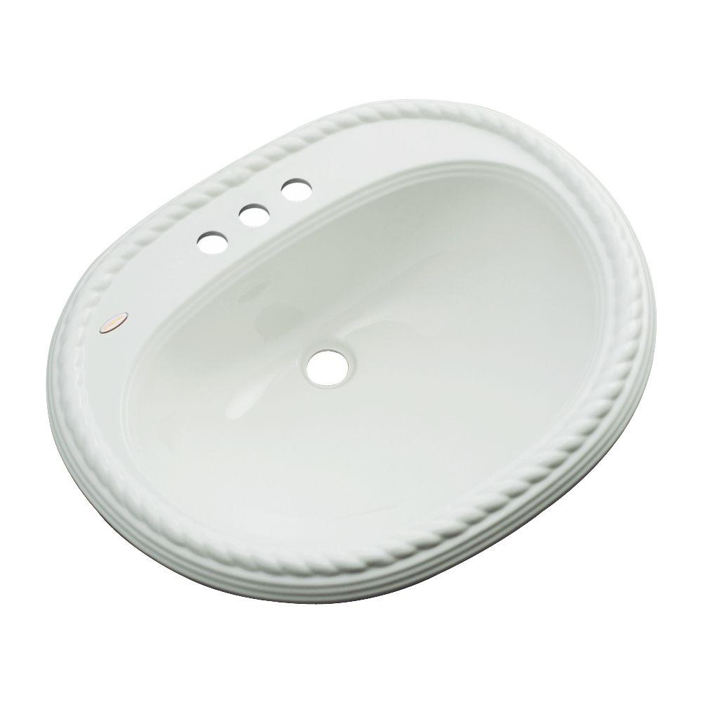 Malibu Drop-In Bathroom Sink with Faucet Hole in Ice Gray