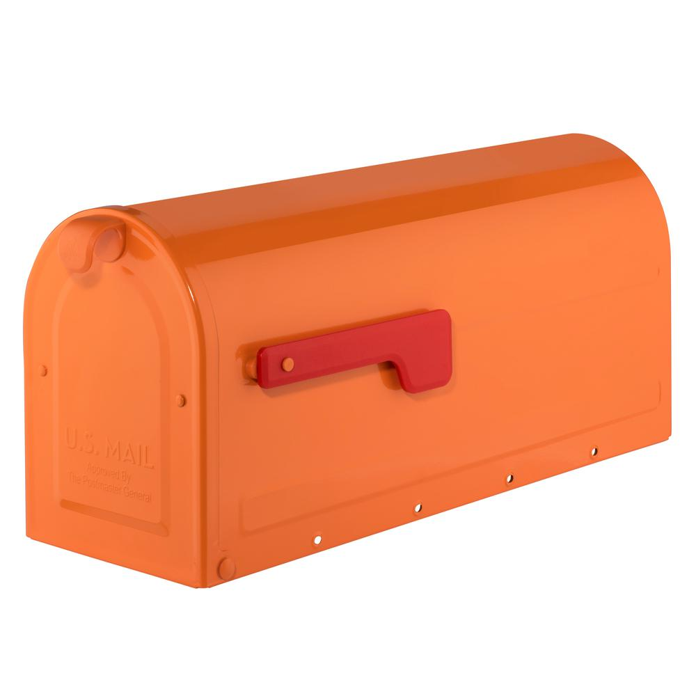 MB1 Post Mount Mailbox Orange with Red Flag
