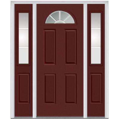 60 in. x 80 in. Internal Grilles Right-Hand 1/4-Lite Clear Painted Fiberglass Smooth Prehung Front Door with Sidelites