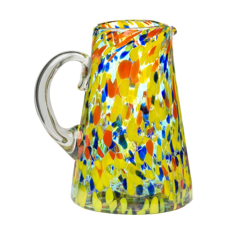 Amici Home Carnaval 80 oz. Multicolor Glass Pitcher with Confetti Coloring