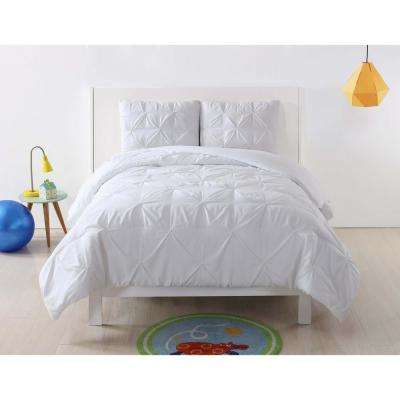 Pleated White Twin XL Duvet Set