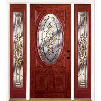 63.5 In.x81.625in.Silverdale Brass 3/4 Oval Lt Stained Cherry