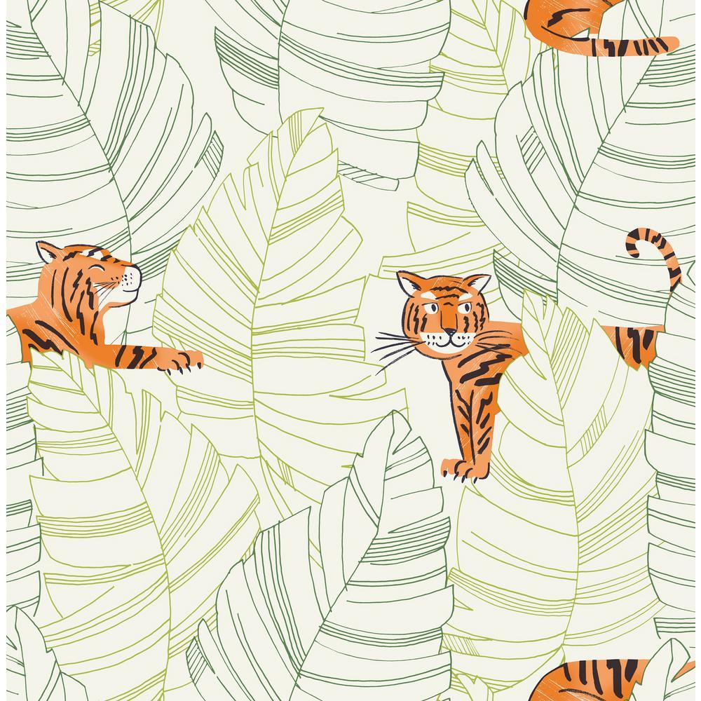 Terrific Kids Green And Orange Hiding Tigers Wallpaper Interior Design Ideas Skatsoteloinfo