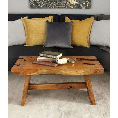 Distressed Brown Cross-Sectional Burl-Edged Teak Wood Bench