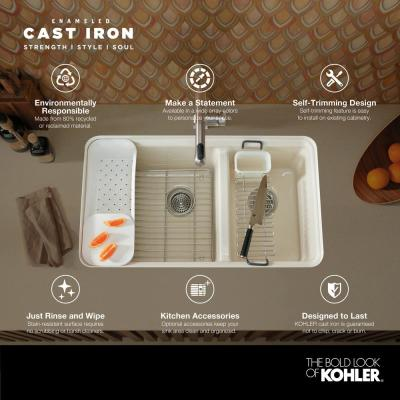 Riverby Drop-In Cast Iron 33 in. 3-Hole Single Bowl Kitchen Sink Kit with Accessories in White