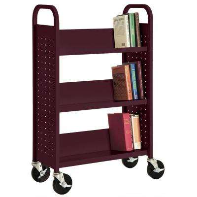 Burgundy Mobile Steel Bookcase