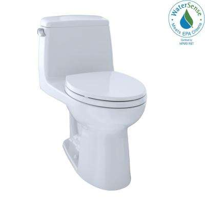 Eco UltraMax ADA Compliant 1-Piece 1.28 GPF Single Flush Elongated Toilet with CeFiONtect in Cotton White, Seat Included