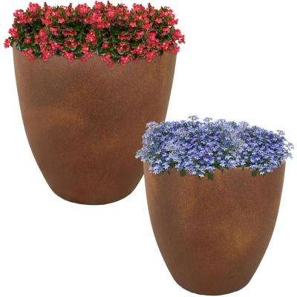 Rustic Villa 15 in. and 17 in. Fiber Clay Durable Indoor/Outdoor Use Planter Flower Pot Set (2-Piece)