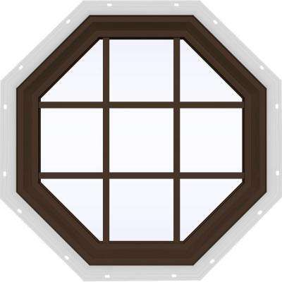 35.5 in. x 35.5 in. V-2500 Series Fixed Octagon Geometric Vinyl Window with Grids in Brown