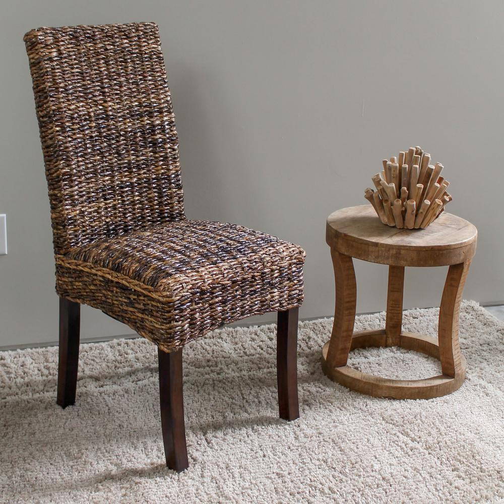 Louisa abaca cushioned seat dining chair with mahogany hardwood frame set of 2