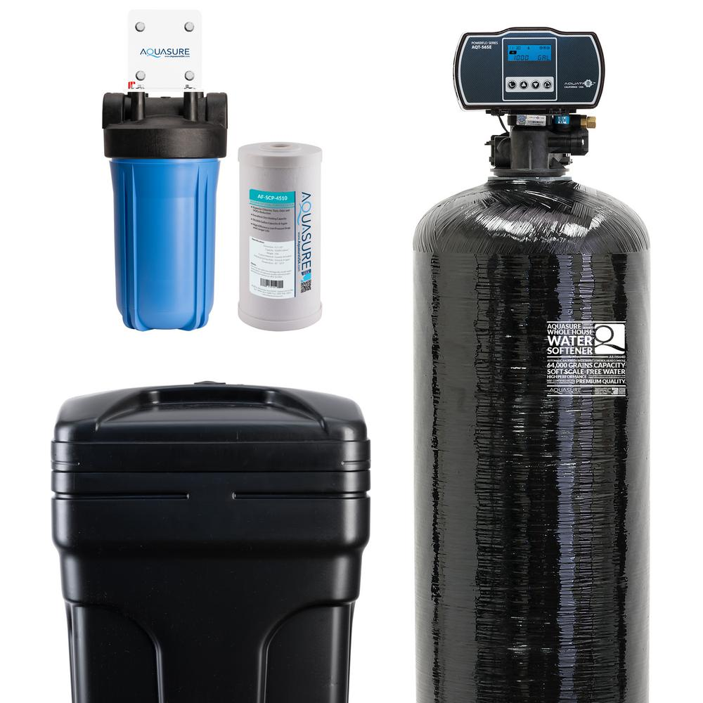 AQUASURE Harmony Series 64,000 Grain Electronic Metered Water Softener with Sediment and Carbon Pre-Filter