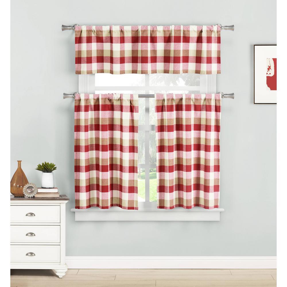 Kingsville Red Kitchen Curtain Set - 58 in. W x 15 in. L (3-Piece)