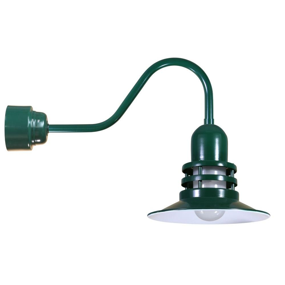 Illumine 1-Light Outdoor Green Angled Arm Orbitor Shade Wall Sconce with Frosted Glass