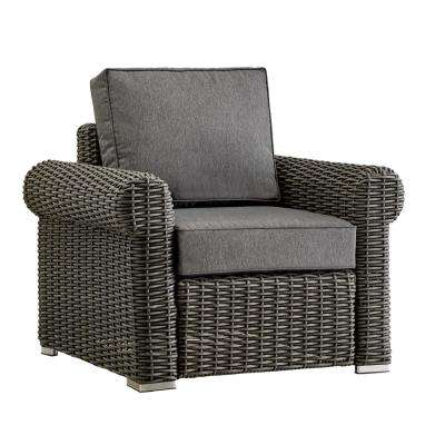Camari Charcoal Rolled Arm Wicker Outdoor Patio Lounge Chair with Gray Cushion